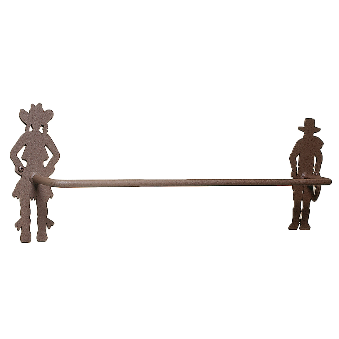 Metal Cowboy & Cowgirl Towel Bar - 24 Inch