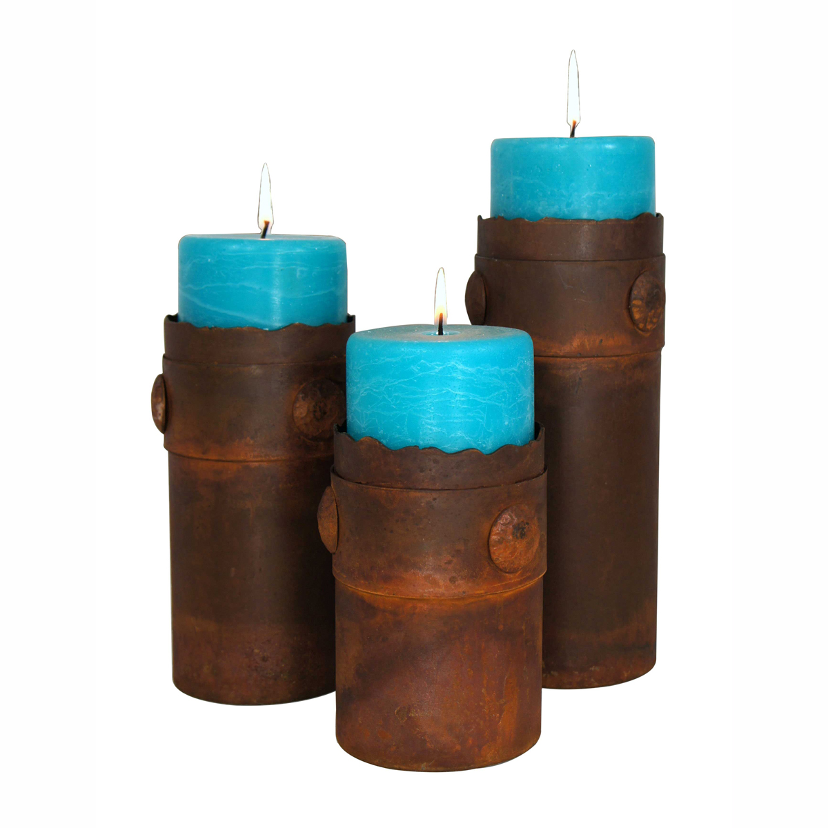 Metal Nail Head Banded Candle Holder Set with Turquoise Candles