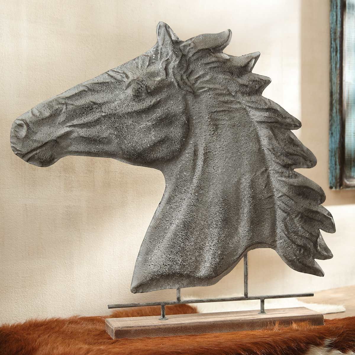 Metal Stallion Bust Table Sculpture - CLEARANCE