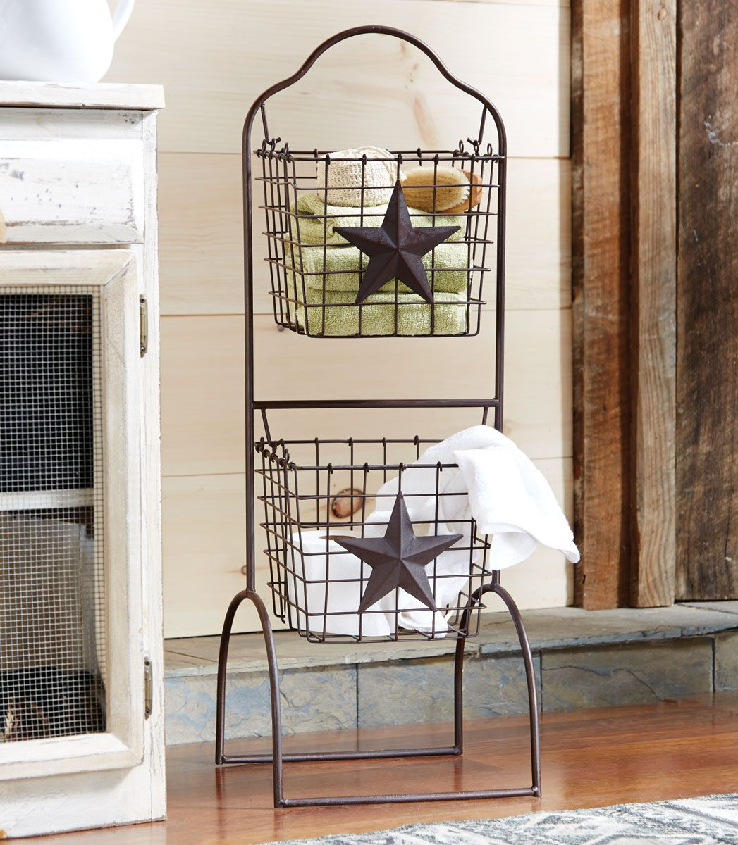Metal Star Two Tier Wire Basket Stand - CLEARANCE