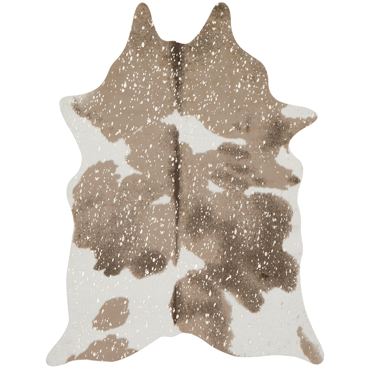 Metallic Taupe and White Faux Cowhide Rug - 4 x 5