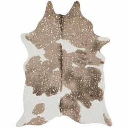 Metallic Taupe and White Faux Cowhide Rug Collection