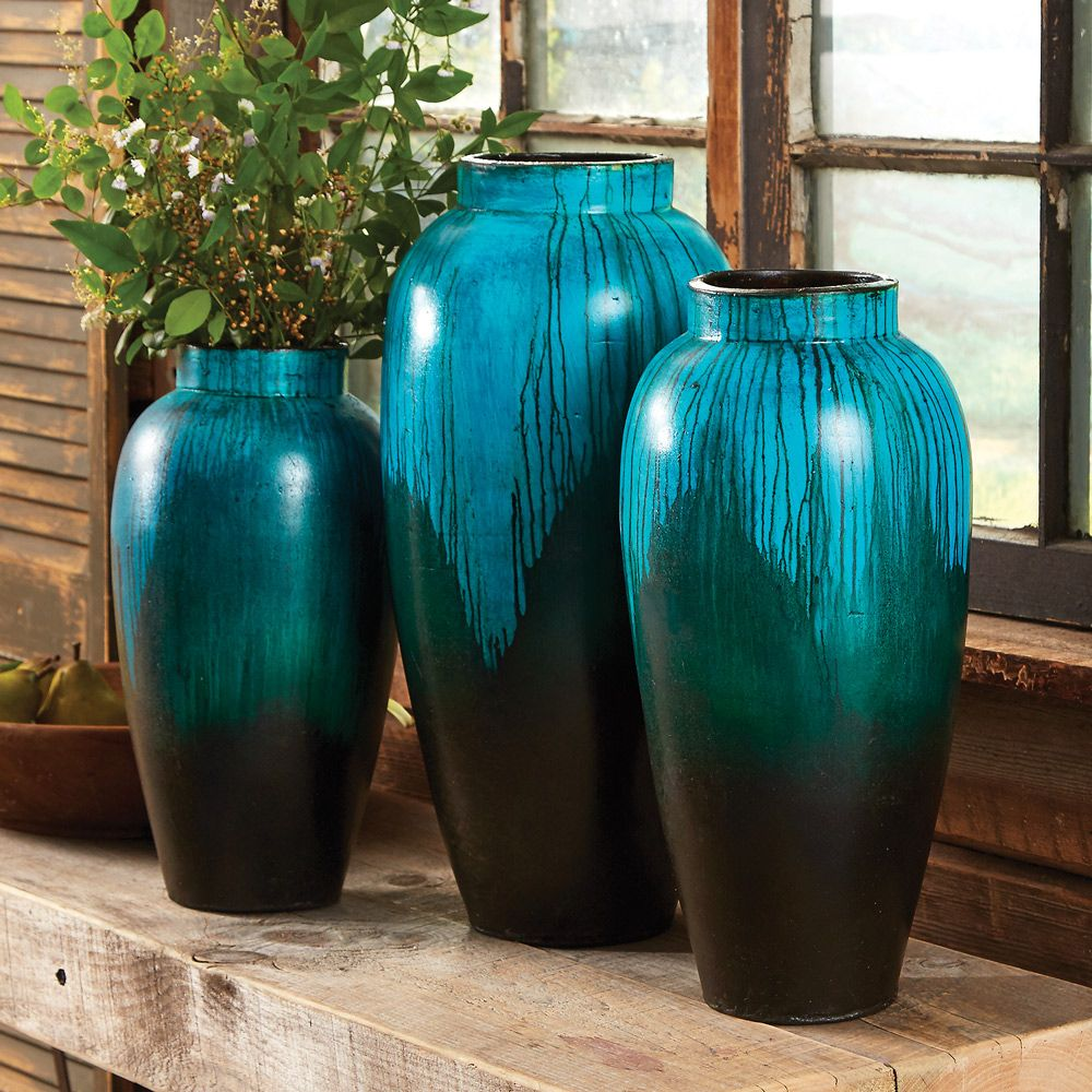 Midnight Waters Pottery Vase Collection (Set of 3)