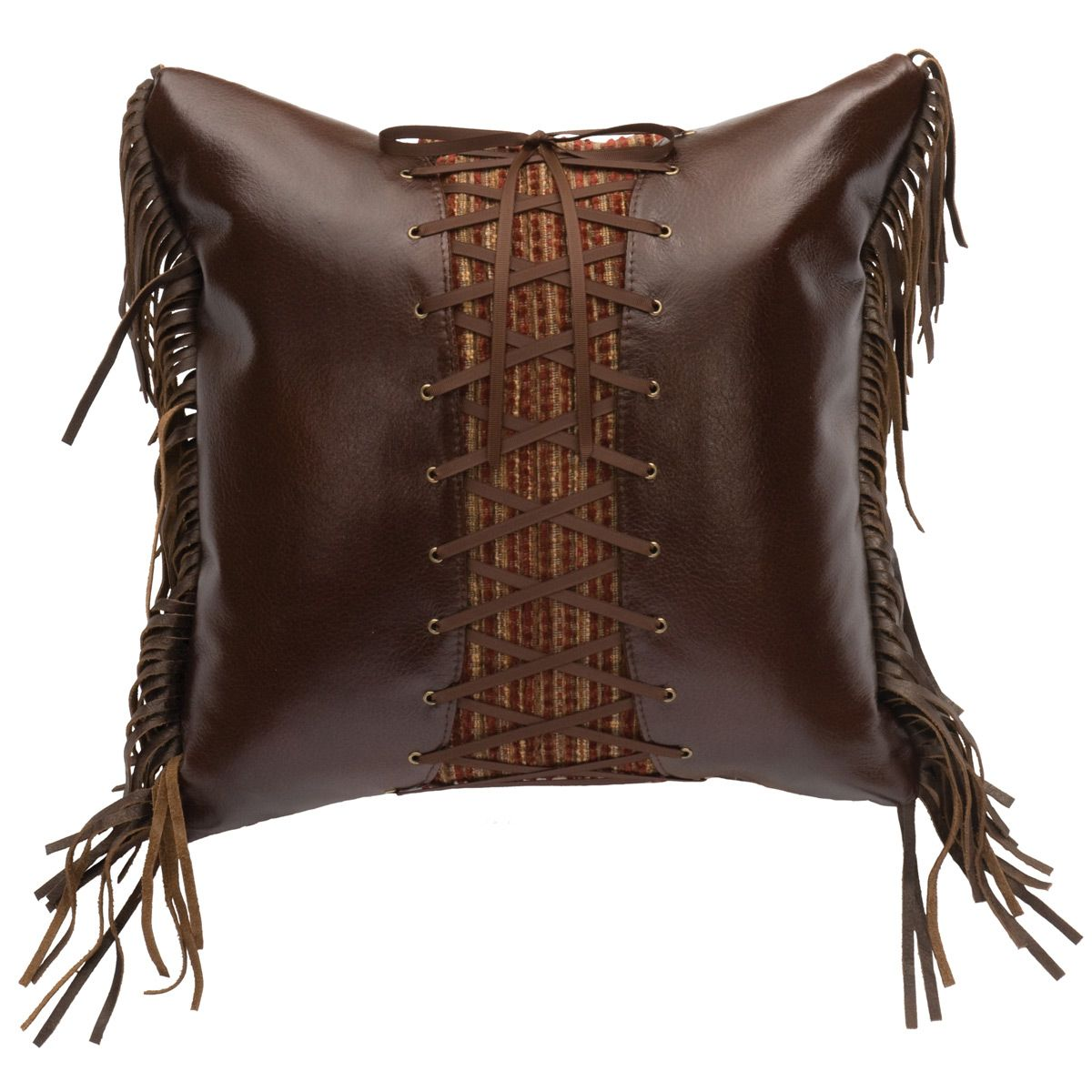 Milady Tawny Faux Leather Laced Pillow