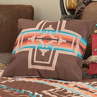 Mocha Canyon Cross Accent Pillow - CLEARANCE