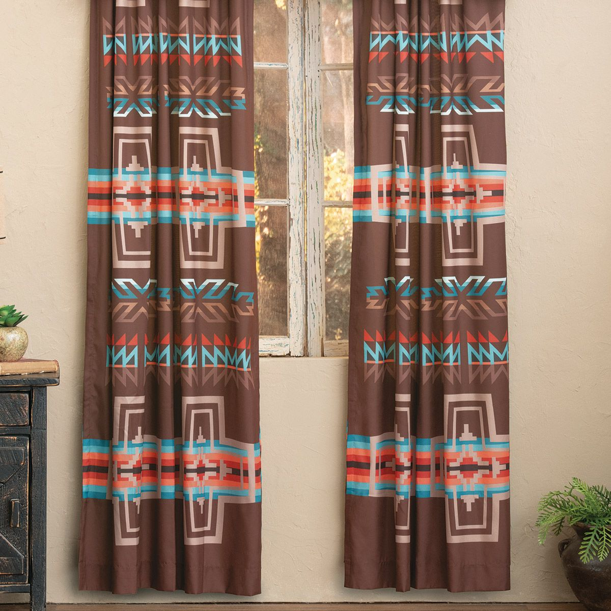 Mocha Canyon Cross Lined Drapes - CLEARANCE