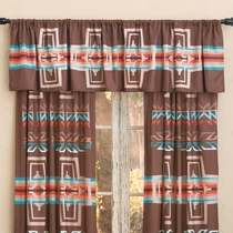 Mocha Canyon Cross Lined Valance