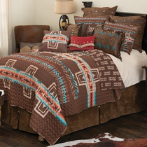 Mocha Canyon Cross Quilt Set - Queen