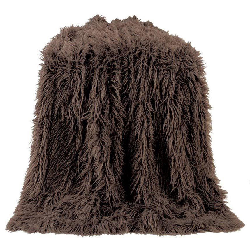 Mongolian Chocolate Faux Fur Throw
