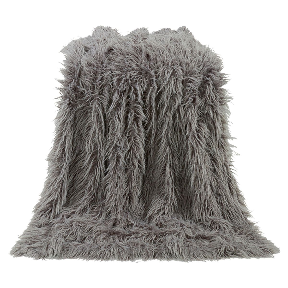Mongolian Gray Faux Fur Throw