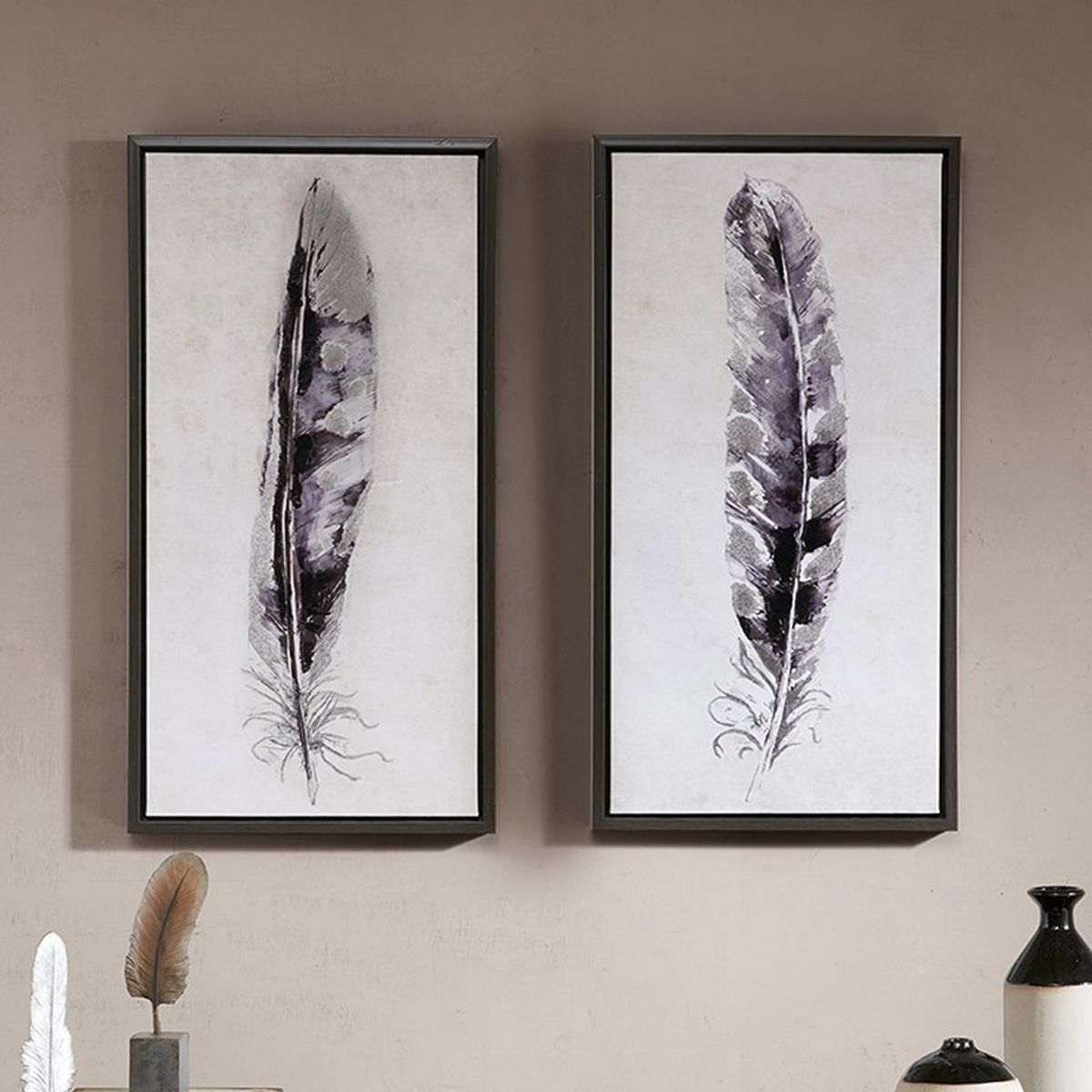 Monotone Feathers Framed Canvases - Set of 2