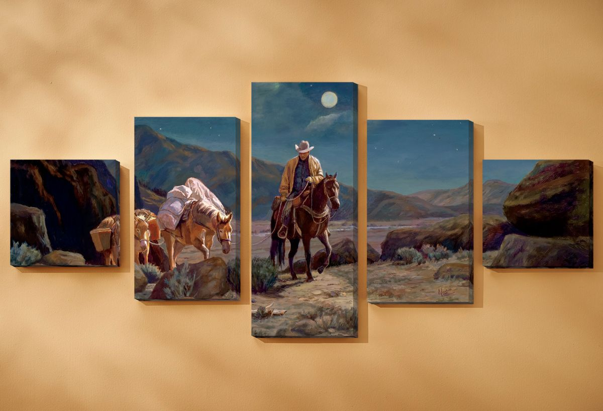Moonlit Silence Wrapped Canvases - Set of 5