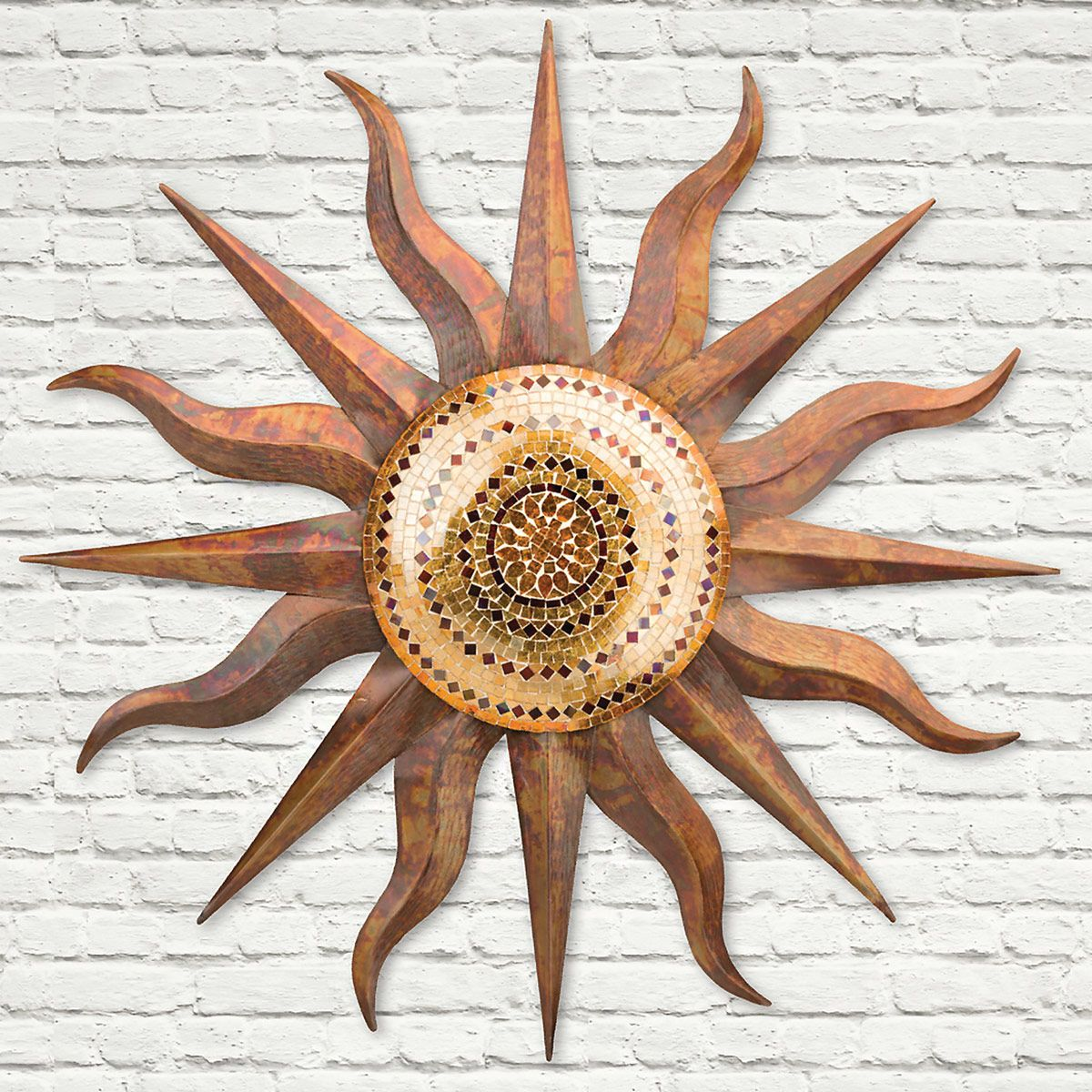 Mosaic Copper Sun Wall Art