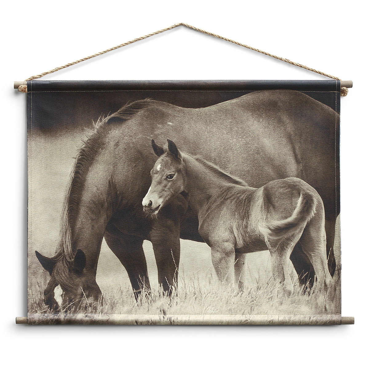 Mother and Mare Canvas Wall Hanging