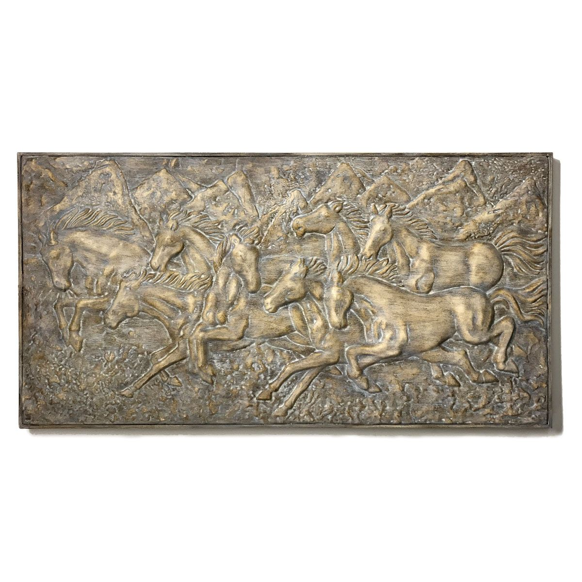 Mountain Run Horse Wall Plaque - Stonewash