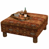 Mountain Sierra Coffee Table Ottoman with Hickory Legs