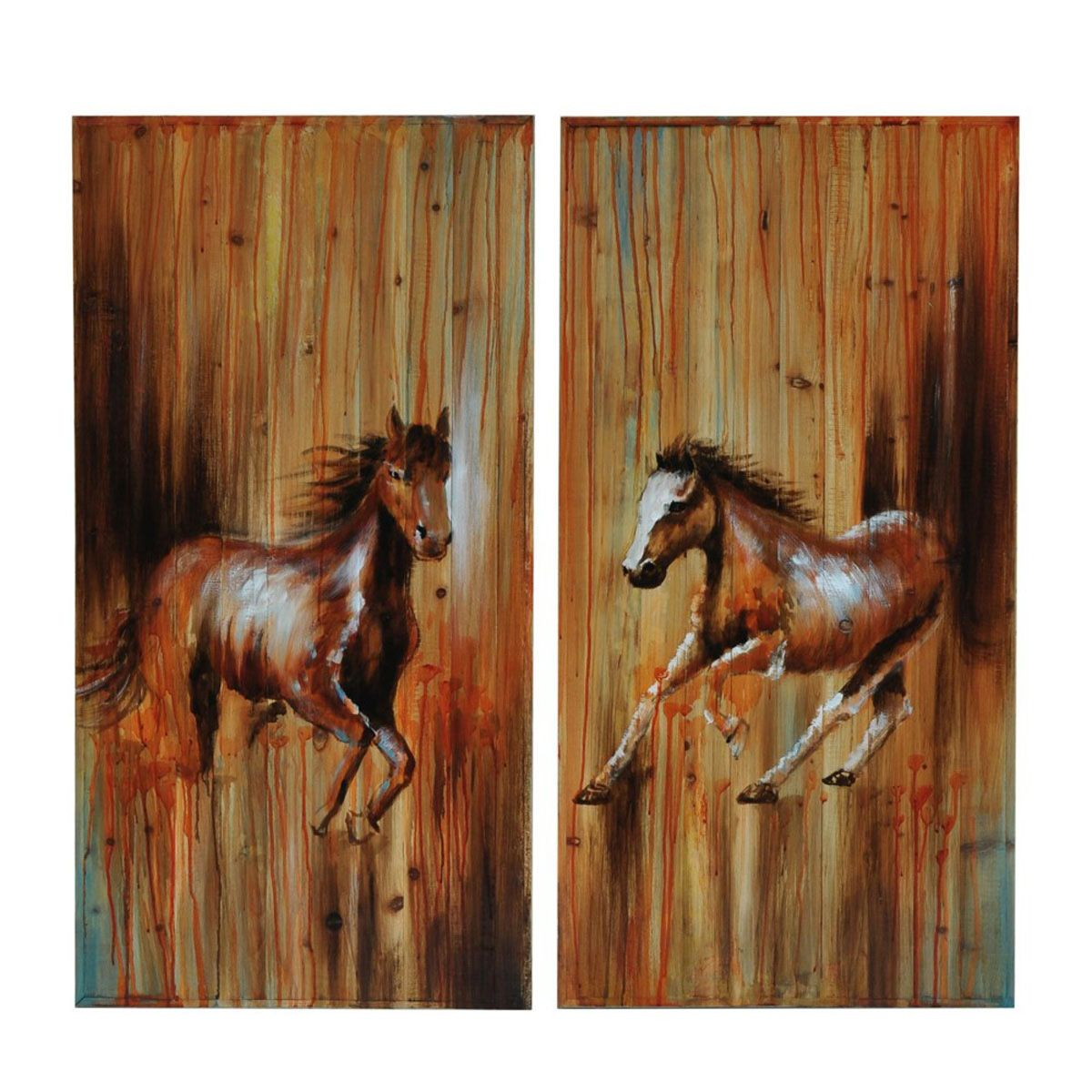 Mustang Rust Wall Art - Set of 2