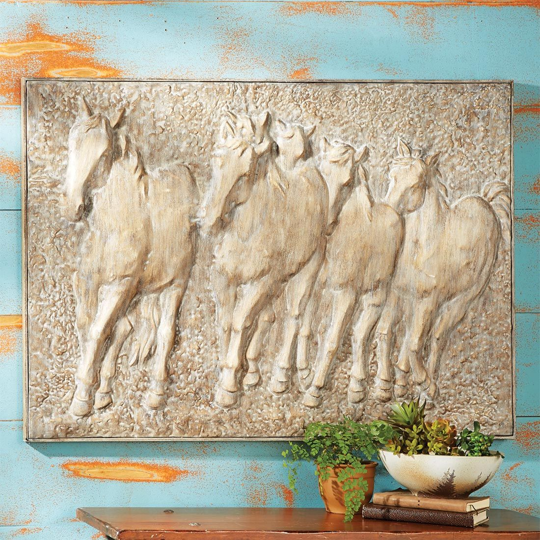 Rustic Metal Wall Art Mustang Stampede Metal Wall Art