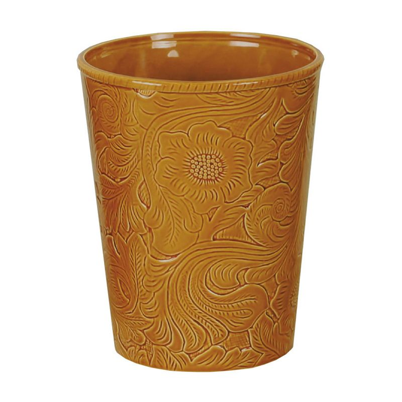 Mustard Tooled Ceramic Waste Basket