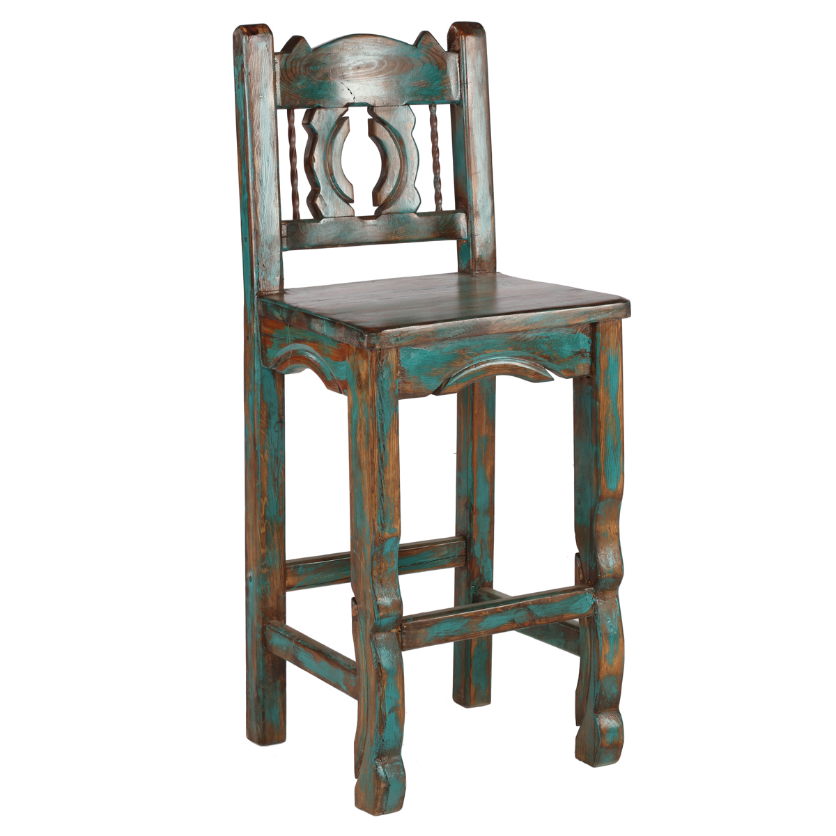 Native Turquoise Western Barstool - 26 Inch