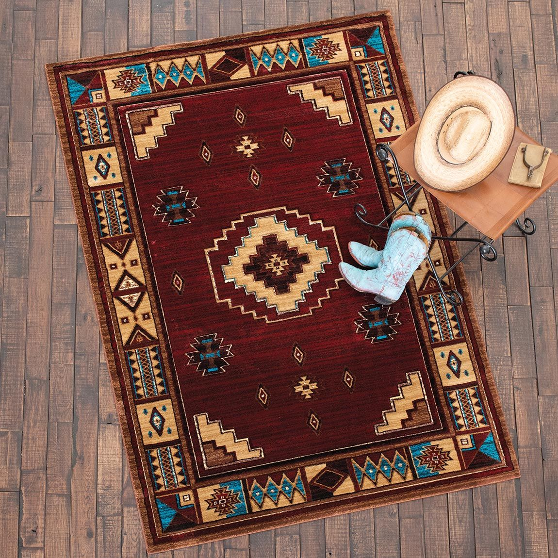 Native Vibes Southwest Burgundy Rug - 2 x 3
