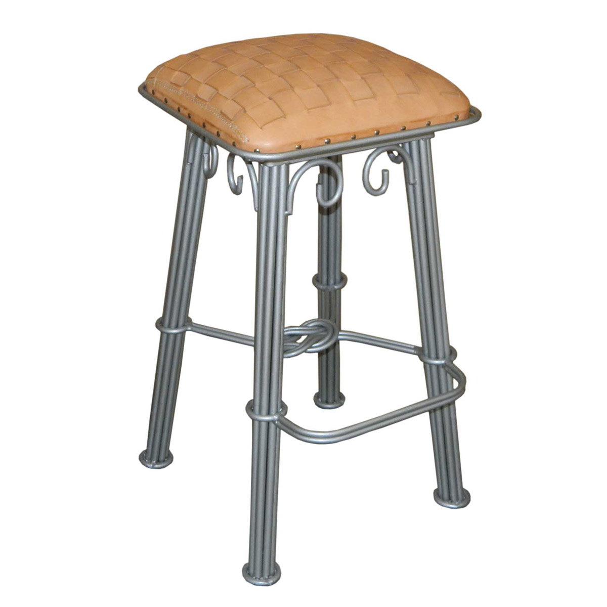 Natural Braided Leather Barstool - Silver Iron