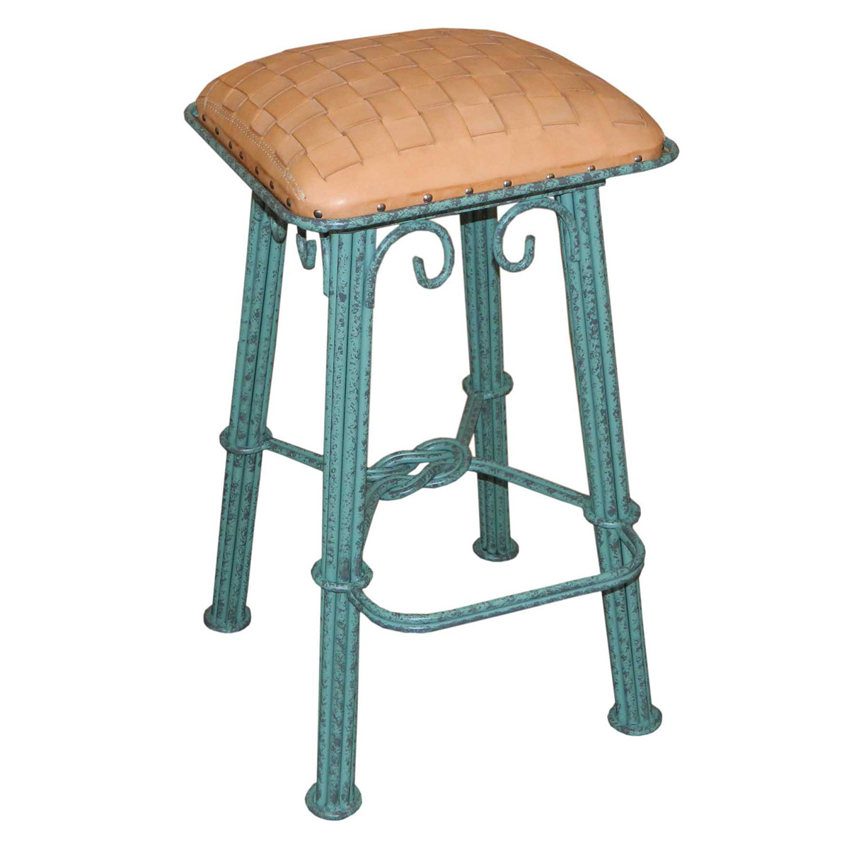Natural Braided Leather Barstool - Turquoise Iron