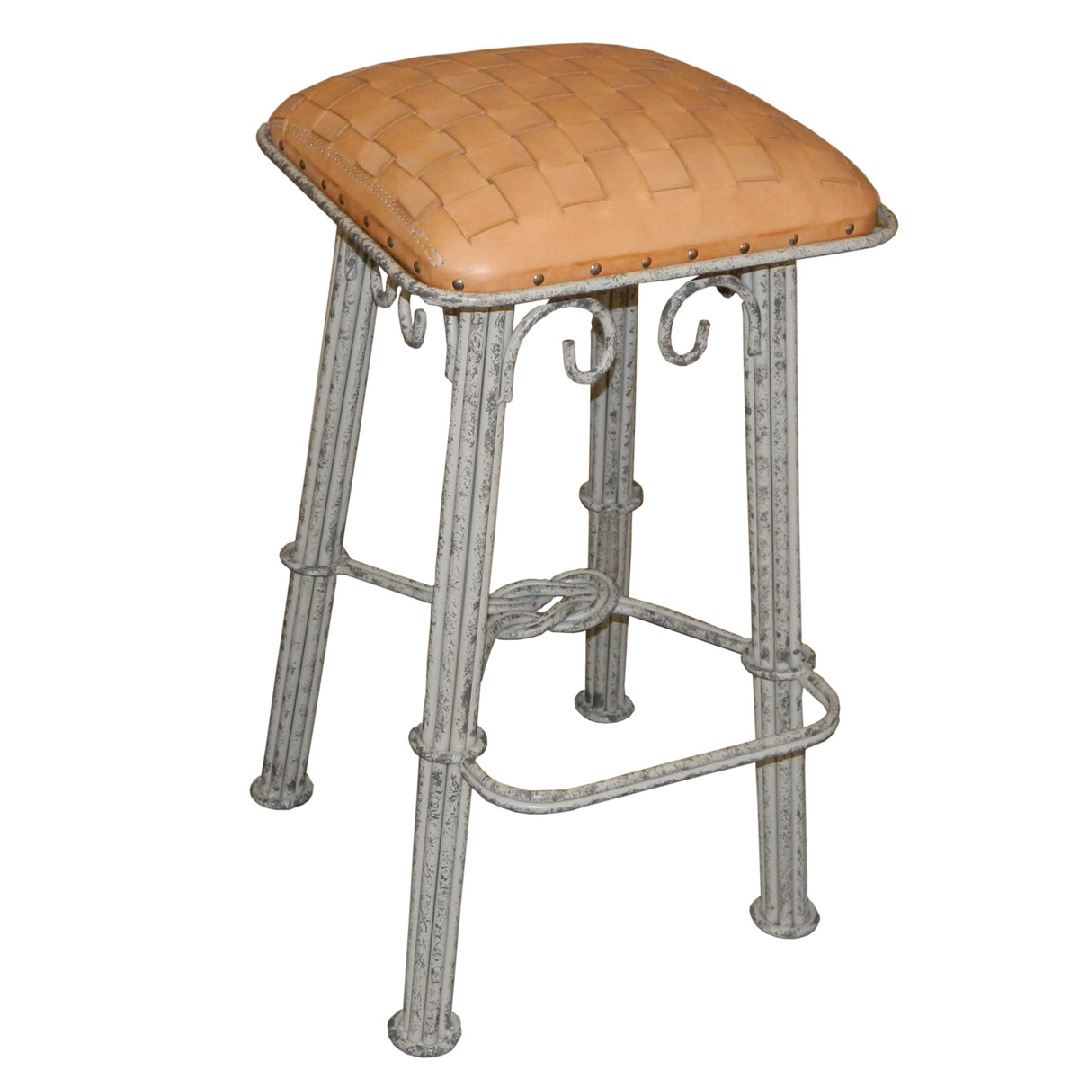 Natural Braided Leather Counter Stool - Ash Gray Iron