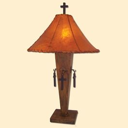 Natural Iron Cross Inverted Lamp with Orange Rawhide Shade