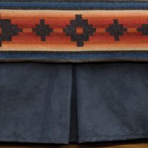 Navy Suede Tailored Bedskirt - Full