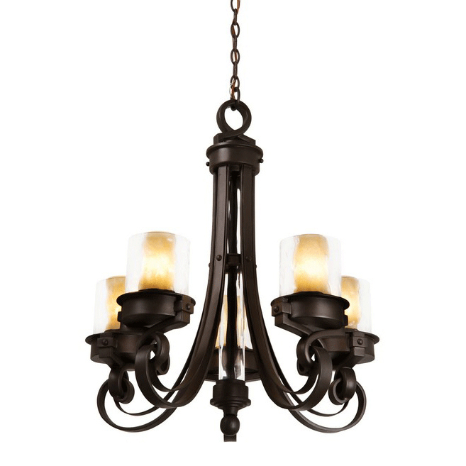 Newport 5 Light Chandelier with Calcite Shades