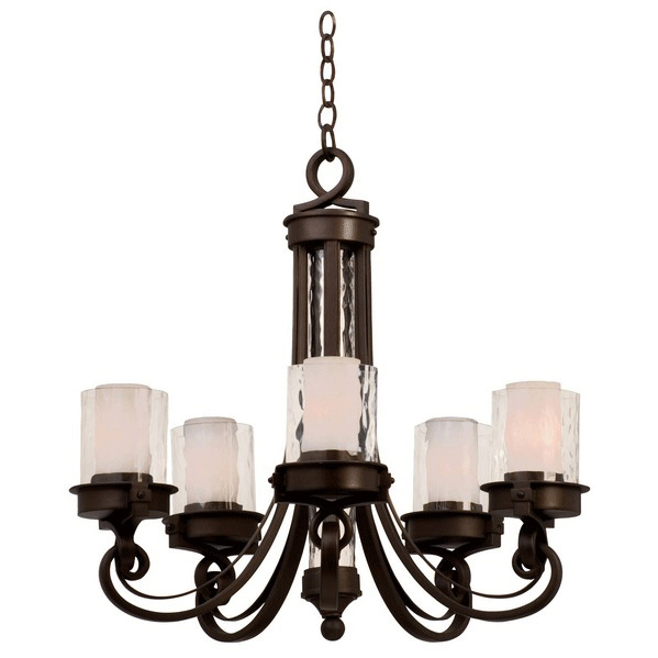 Newport 5 Light Chandelier with Clear Shades