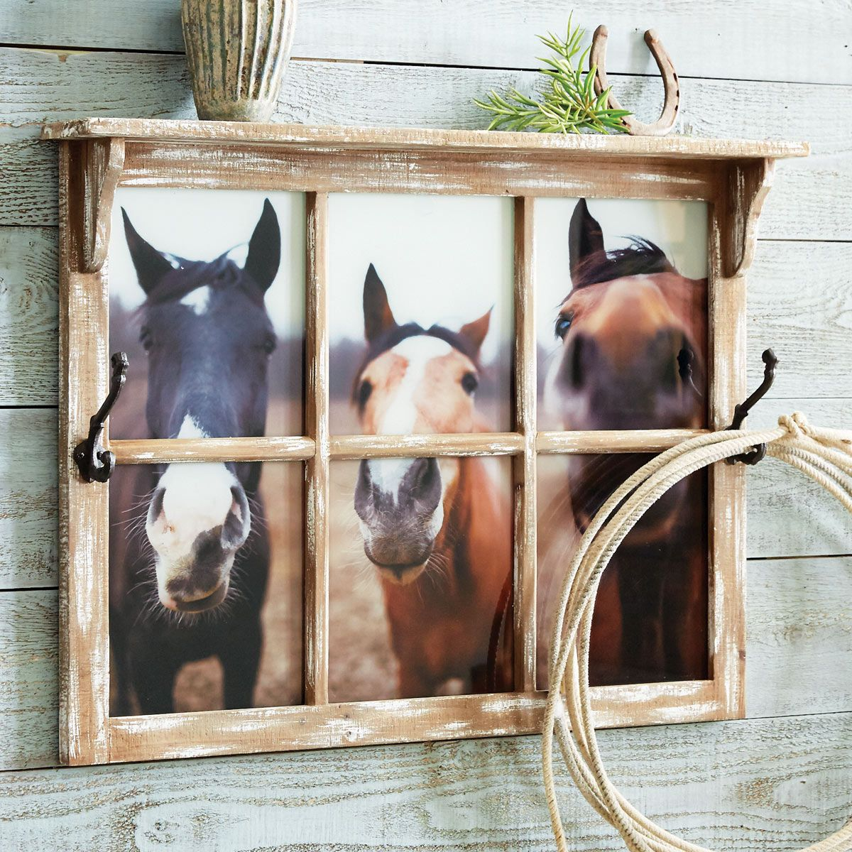 Nosey Horse Wall Shelf w/ Hooks