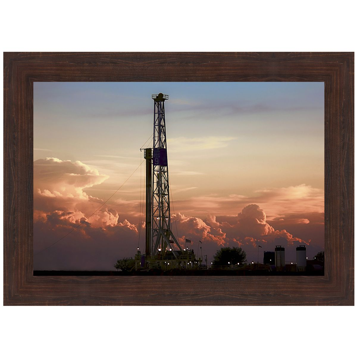 Oilfield at Dusk Framed Art