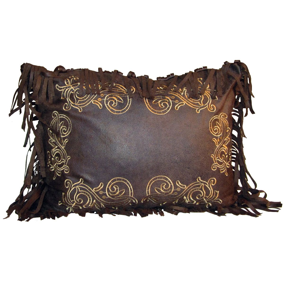 Old West Chocolate Scroll Pillow