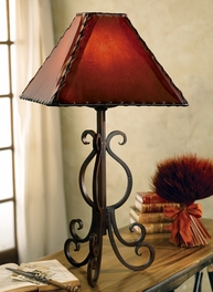 Old West Iron Lamp w/ Rawhide Shade