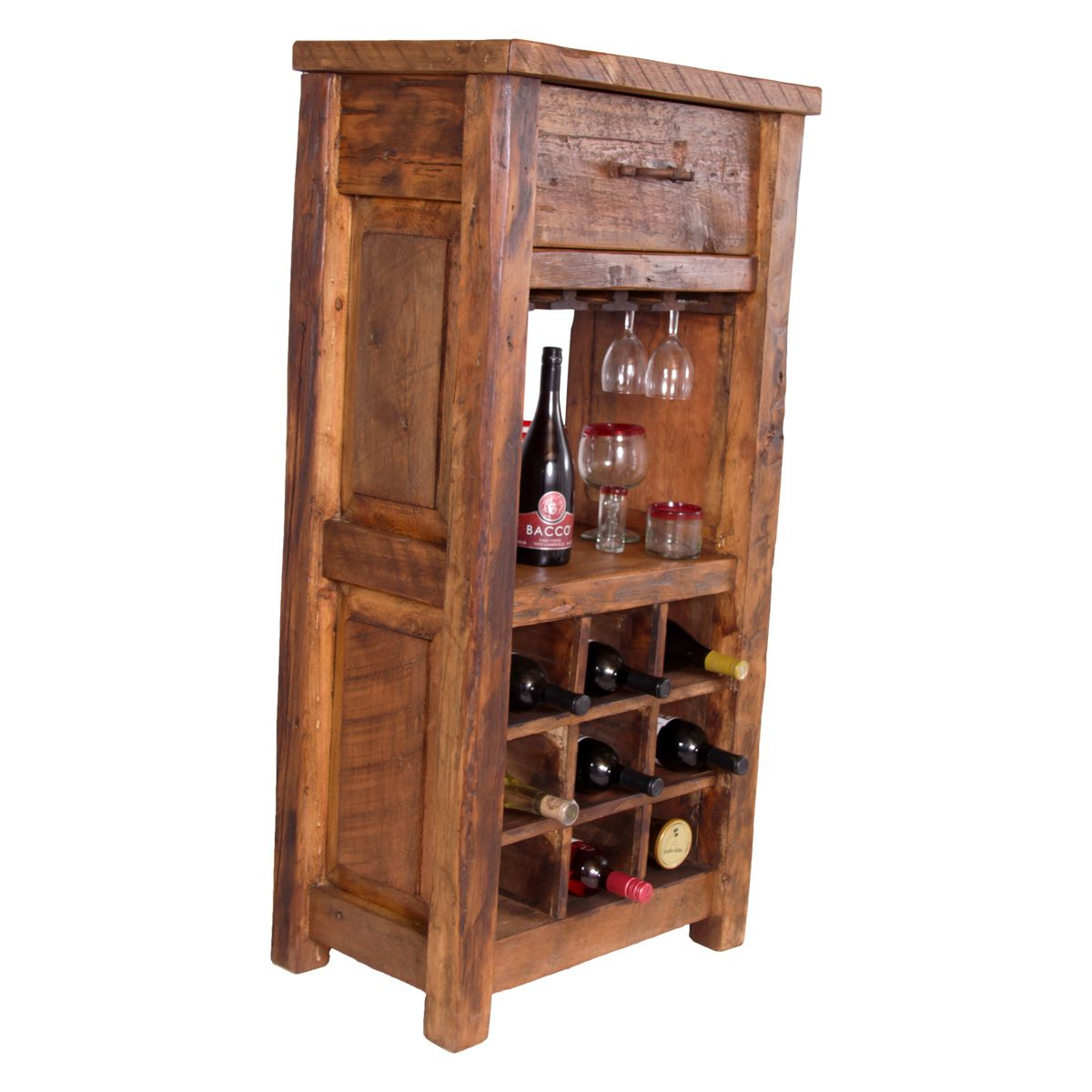 Old West Pine Wine Cabinet