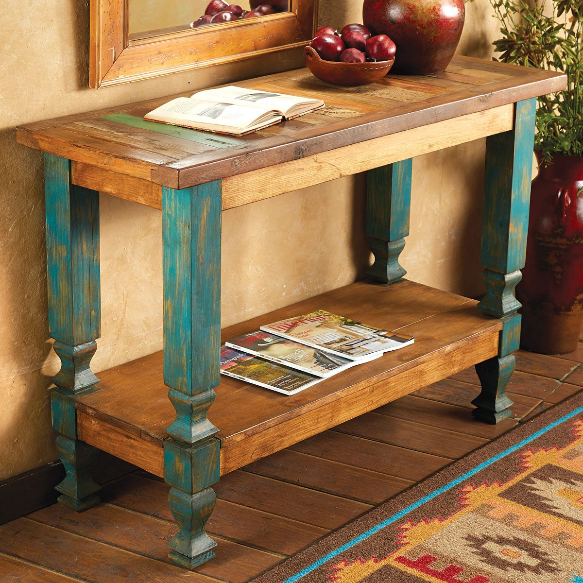Old Wood Turquoise Console Table