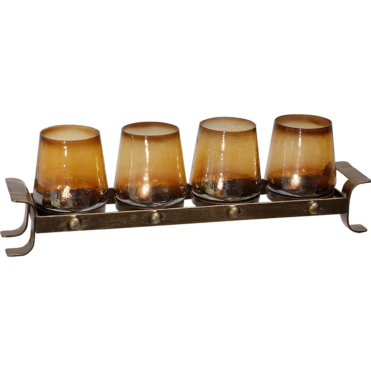 Ombre Amber Votives Tray
