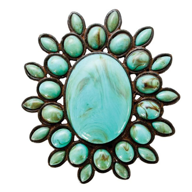 Ornate Oval Turquoise Napkin Rings - Set of 4