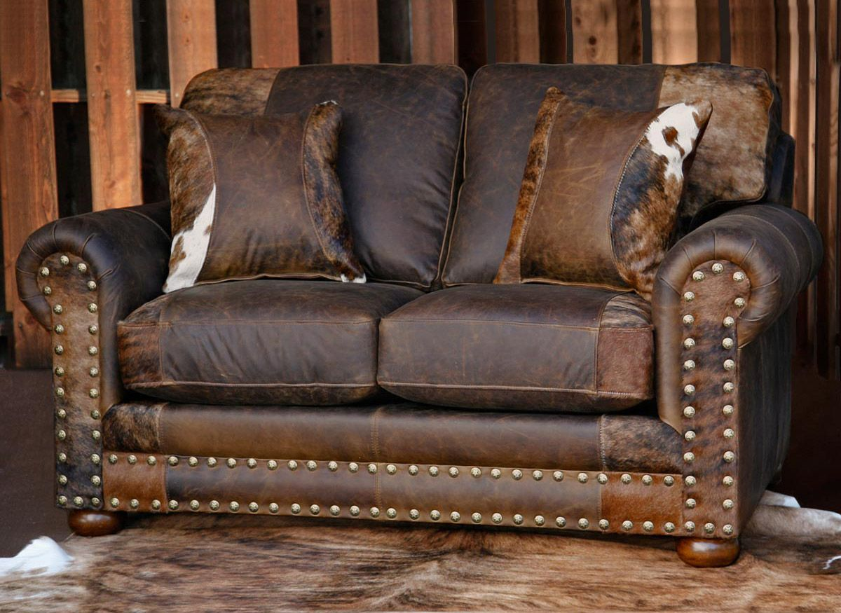 Outlaw Prairie Dust Loveseat with Hair on Hide