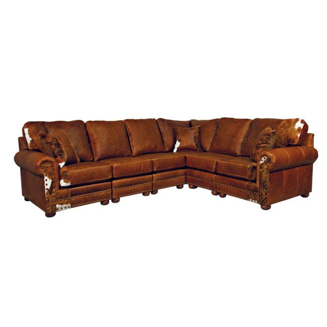 Outlaw Sectional Sofa with Hair on Hide