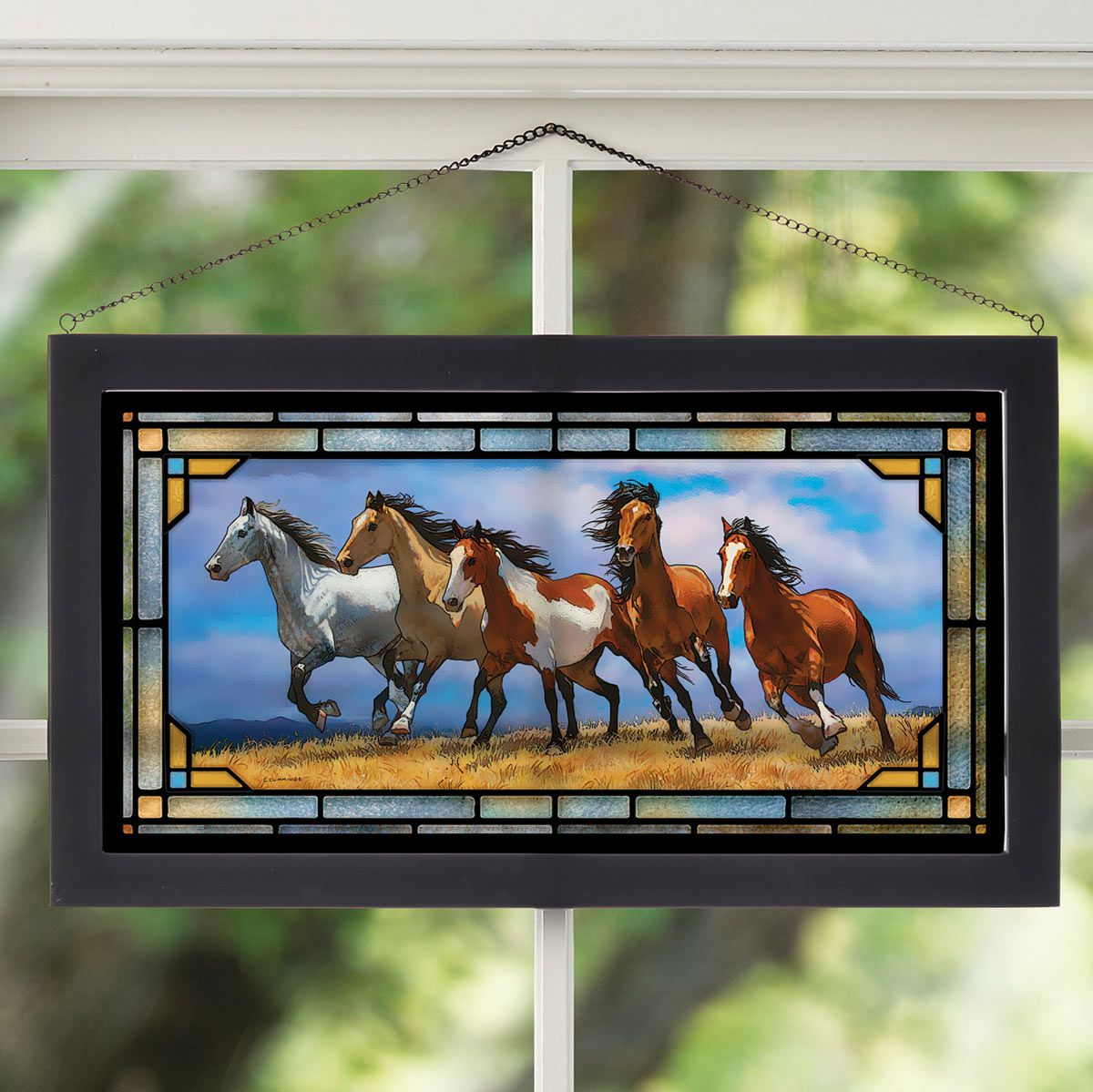 Over the Top Horses Stained Glass Art