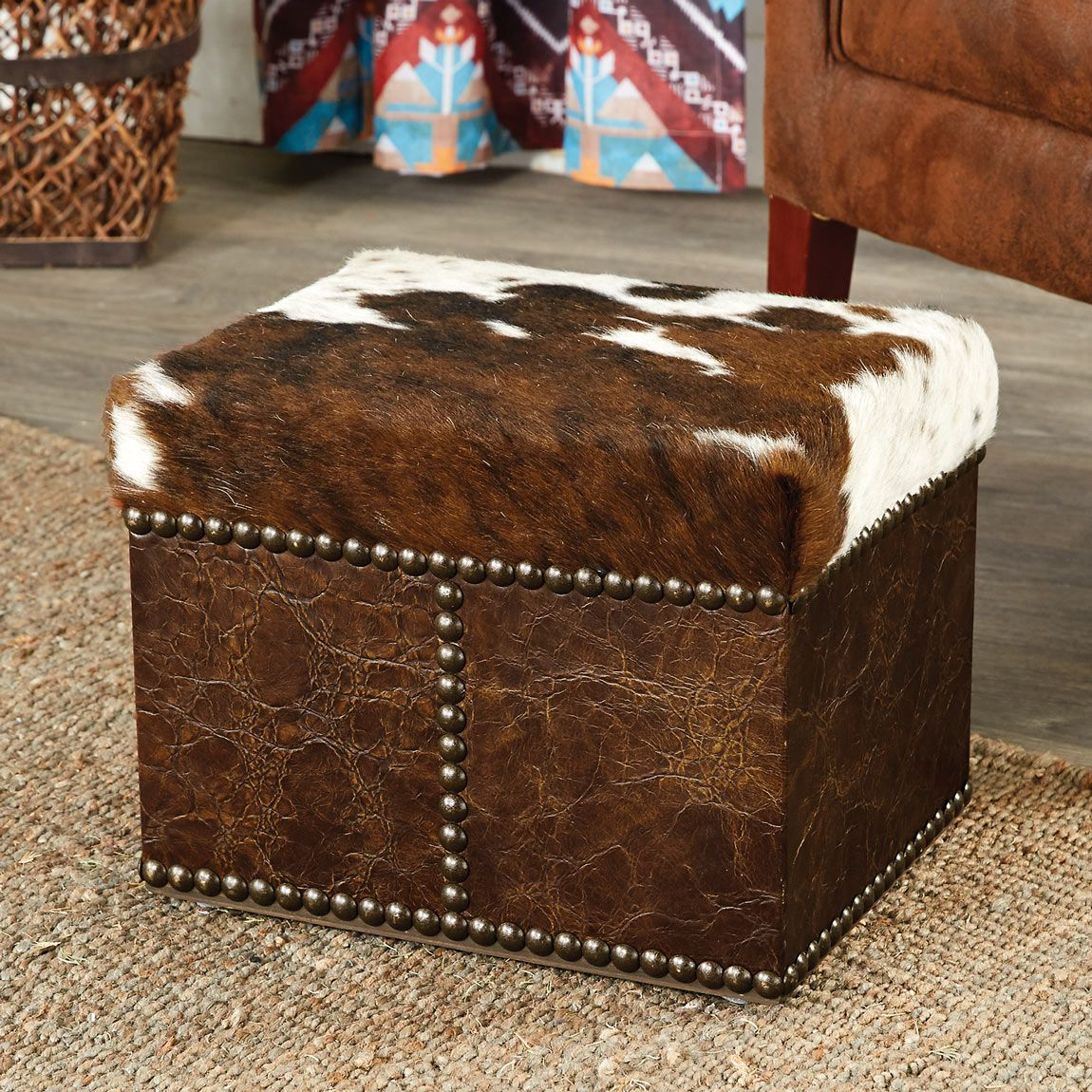 Cowhide Distressed Leather Ottoman