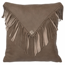 Painted Sky Fringed Cowhide Pillow