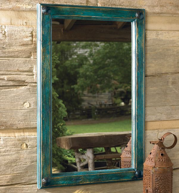 Painted Turquoise Mirror�