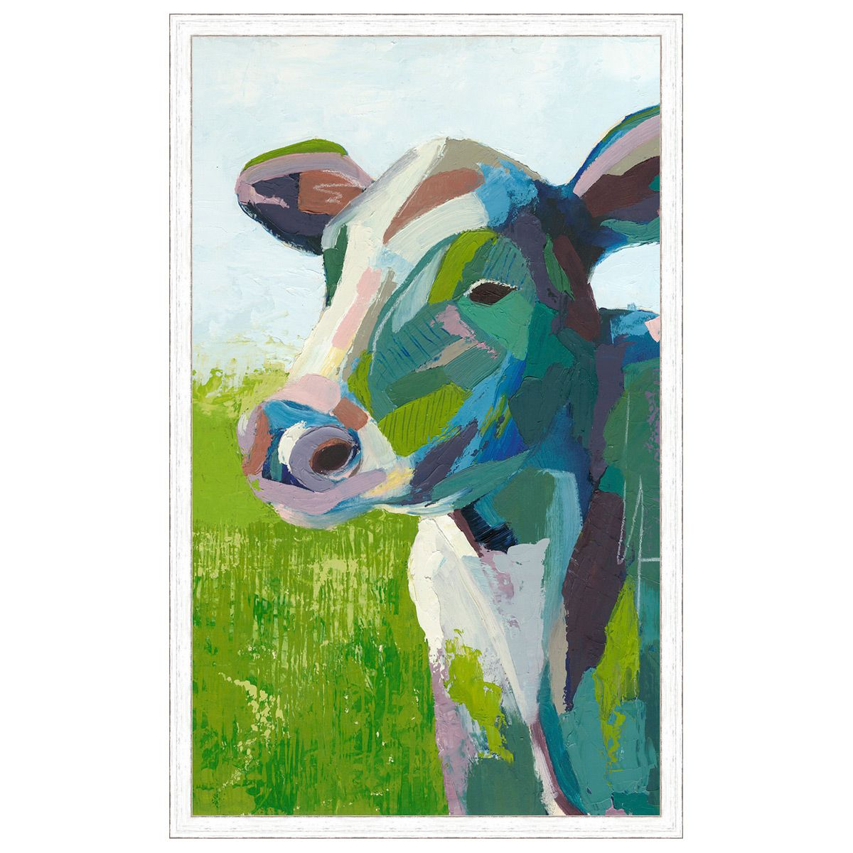 Painterly Cow White Framed Print