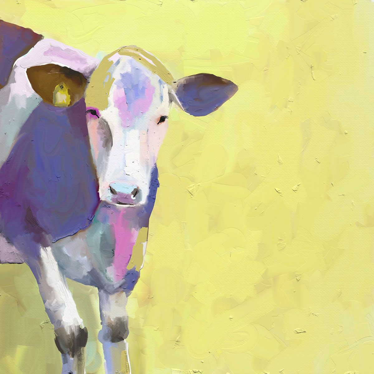 Pastel Cow Canvas Art