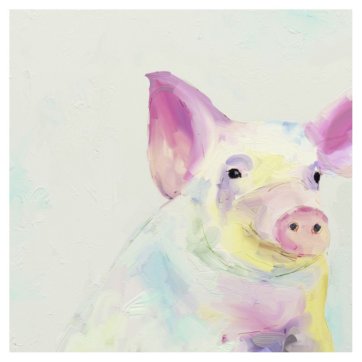 Pastel Pig Canvas Art