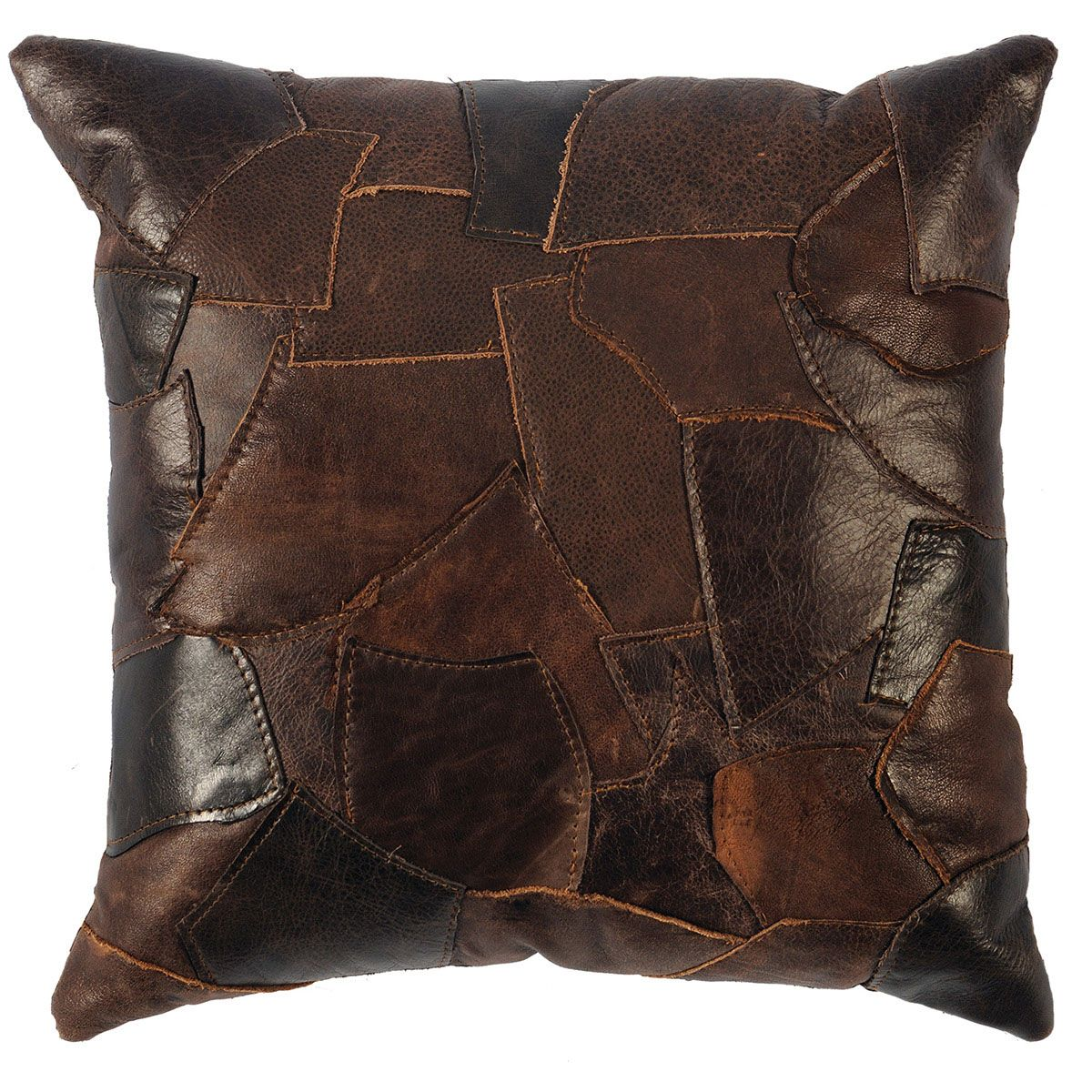 Patchwork Brown Leather with Fabric Back Pillow